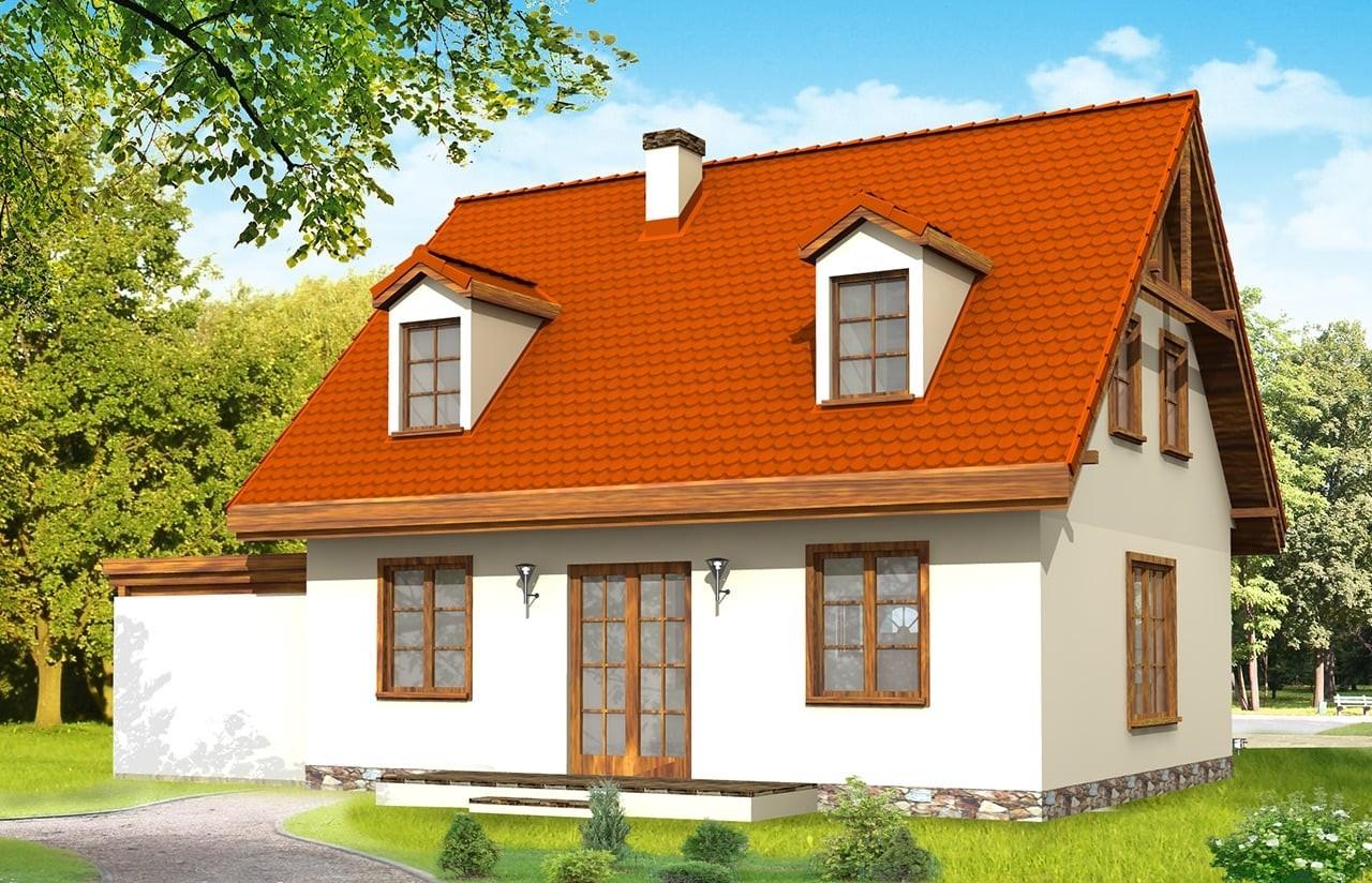 Projekt domu Bajkowy - wizualizacja tylna odbicie lustrzane