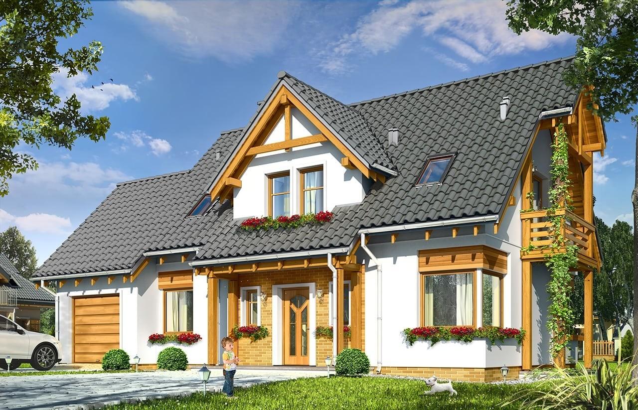 Projekt domu Bartek- wizualizacja frontowa odbicie lustrzane