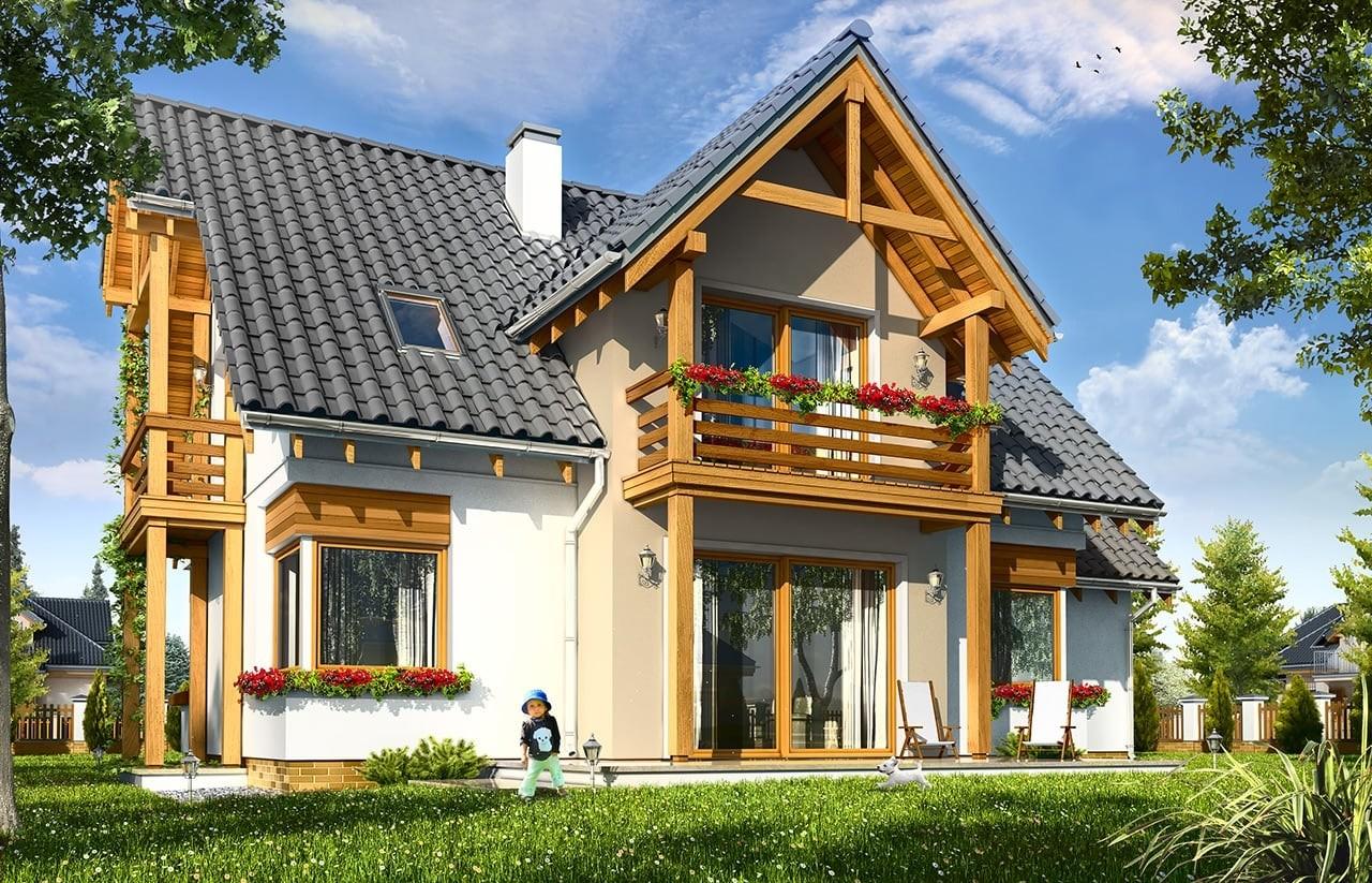 Projekt domu Bartek - wizualizacja tylna odbicie lustrzane