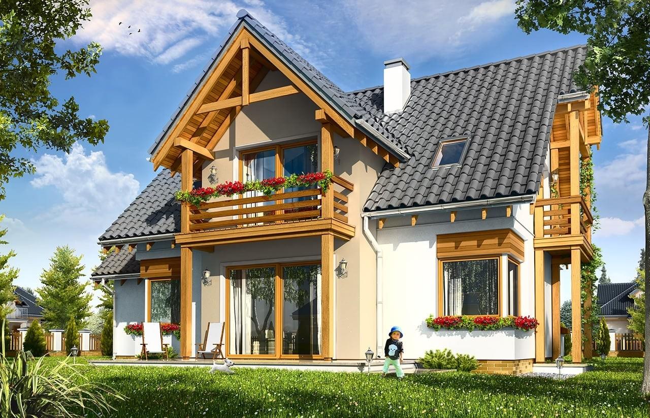 Projekt domu Bartek - wizualizacja tylna