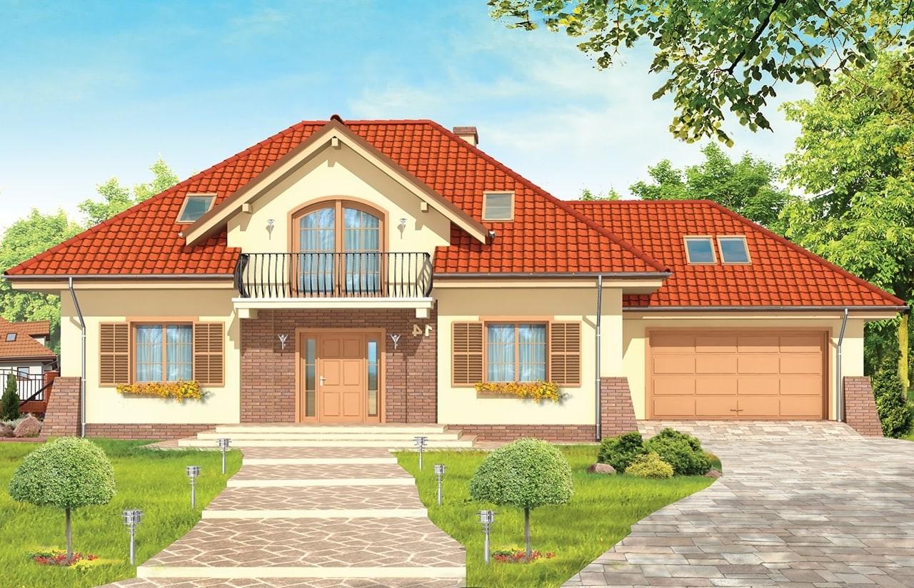 Projekt domu Benedykt 2 - wizualizacja frontu odbicie lustrzane