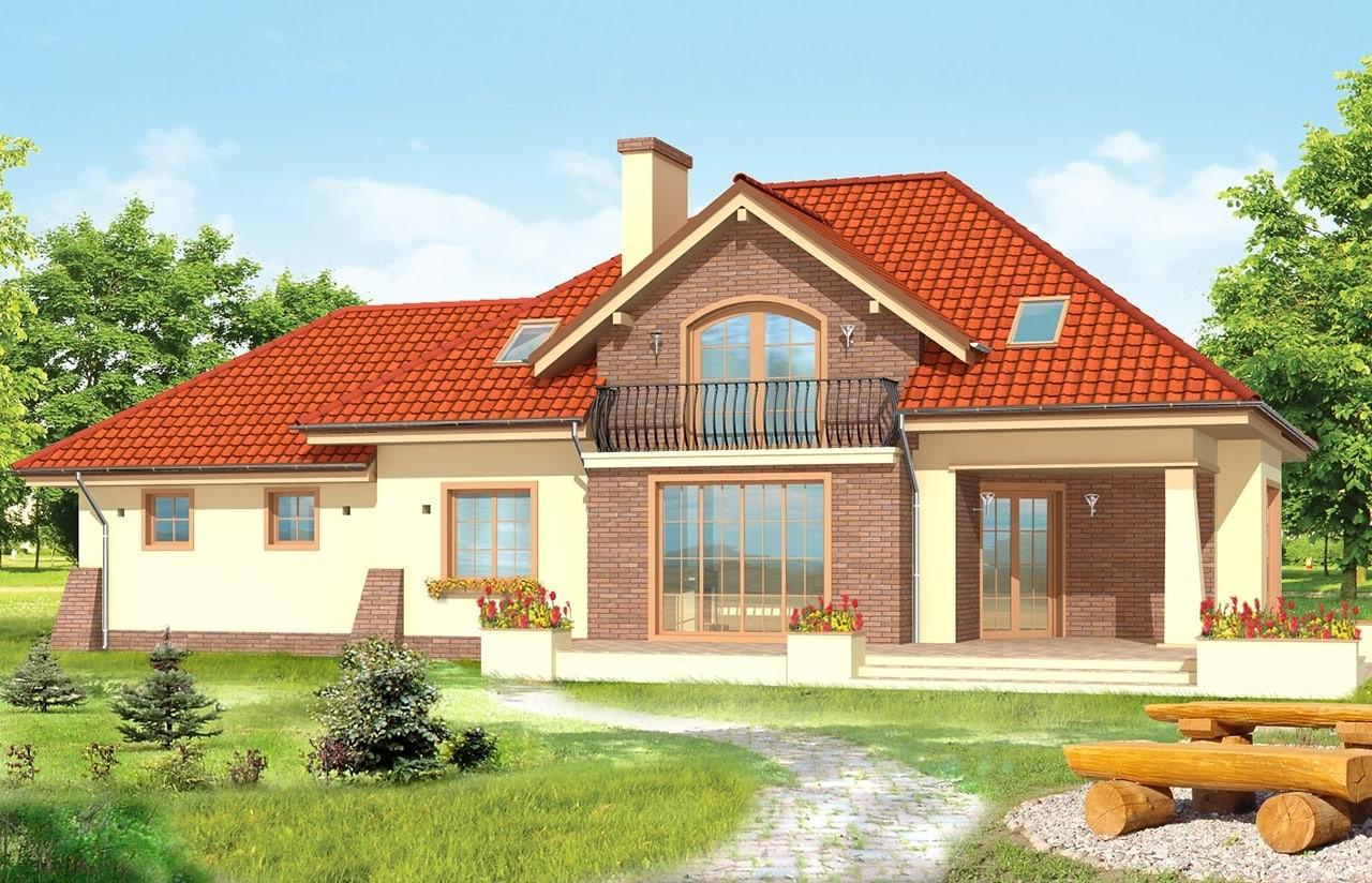Projekt domu Benedykt 2 - wizualizacja tylna odbicie lustrzane
