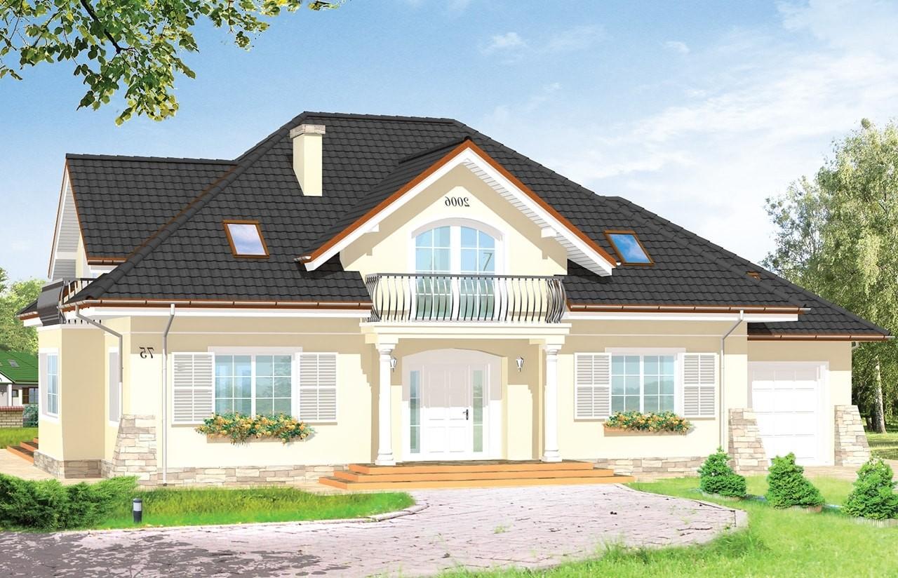 Projekt domu Benedykt 3 - wizualizacja frontu odbicie lustrzane