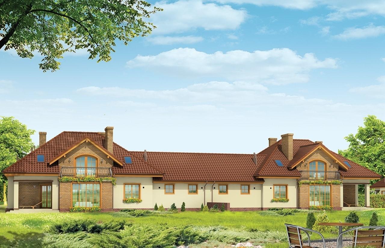 Projekt domu Benedykt Bliźniak - wizualizacja tylna