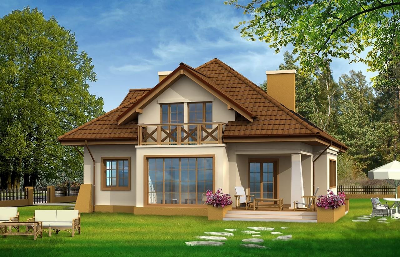 Projekt domu Benedykt - wizualizacja tylna
