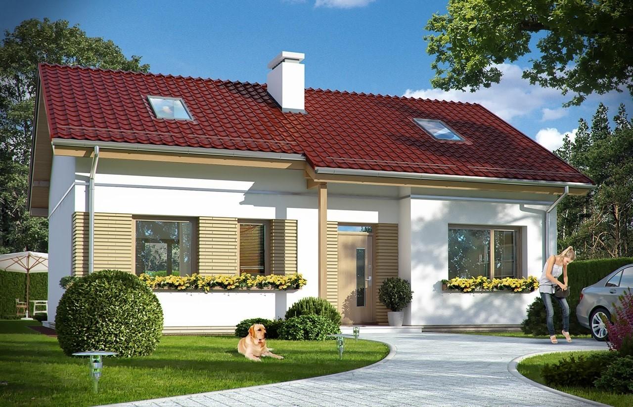 Projekt domu Biedronka 2 - wizualizacja frontu odbicie lustrzane