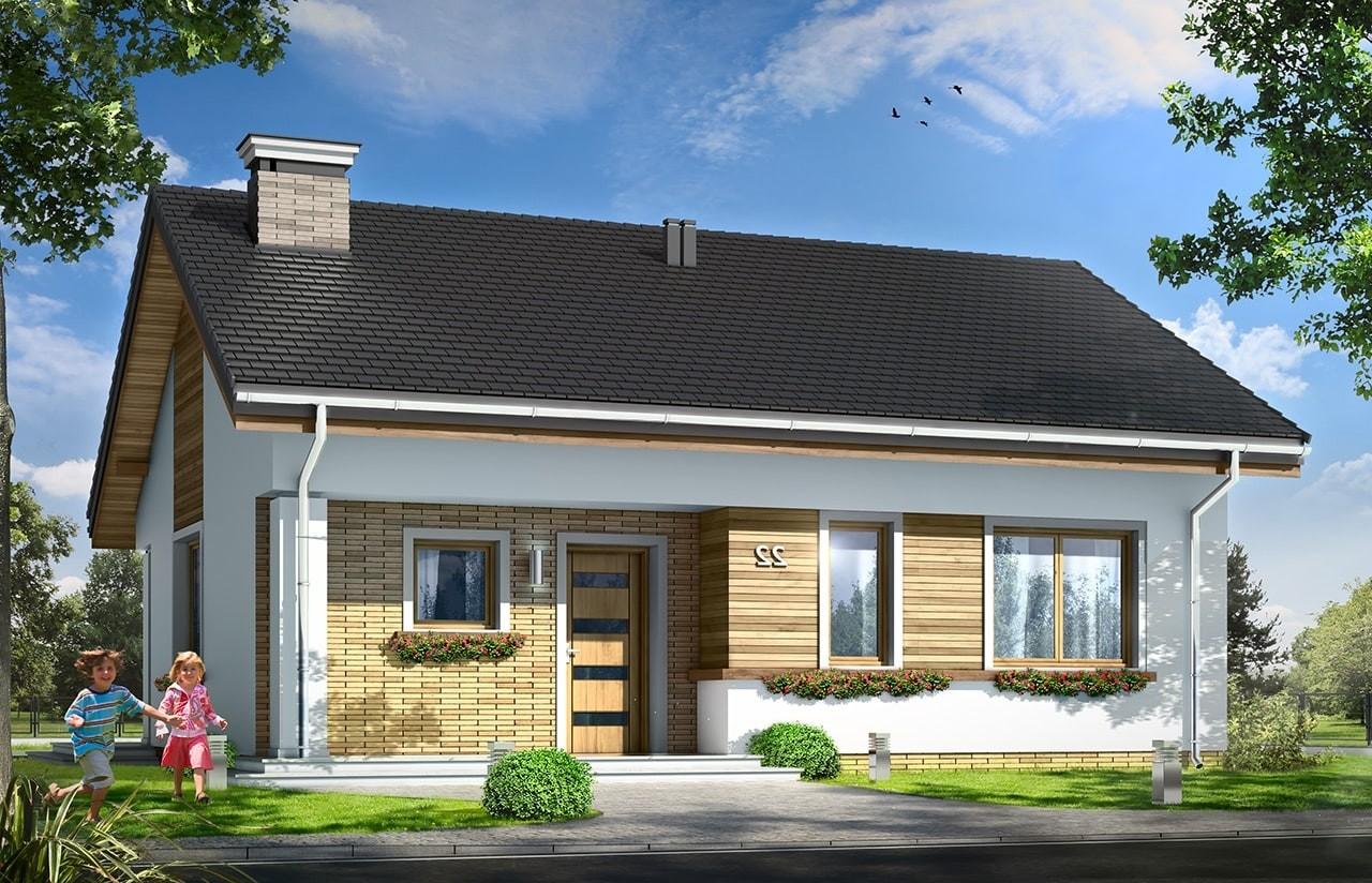 Projekt domu Bonifacy - wizualizacja frontowa odbicie lustrzane