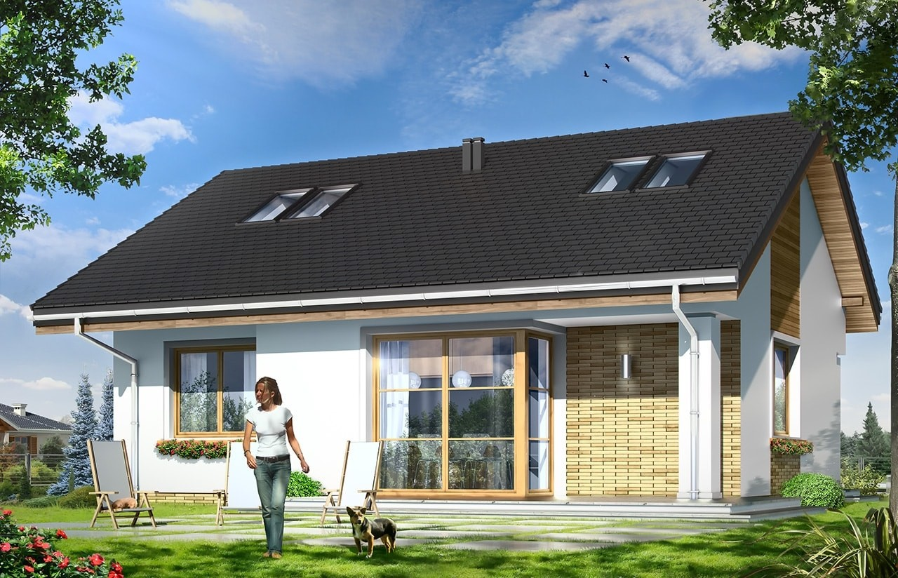 Projekt domu Bonifacy - wizualizacja tylna odbicie lustrzane