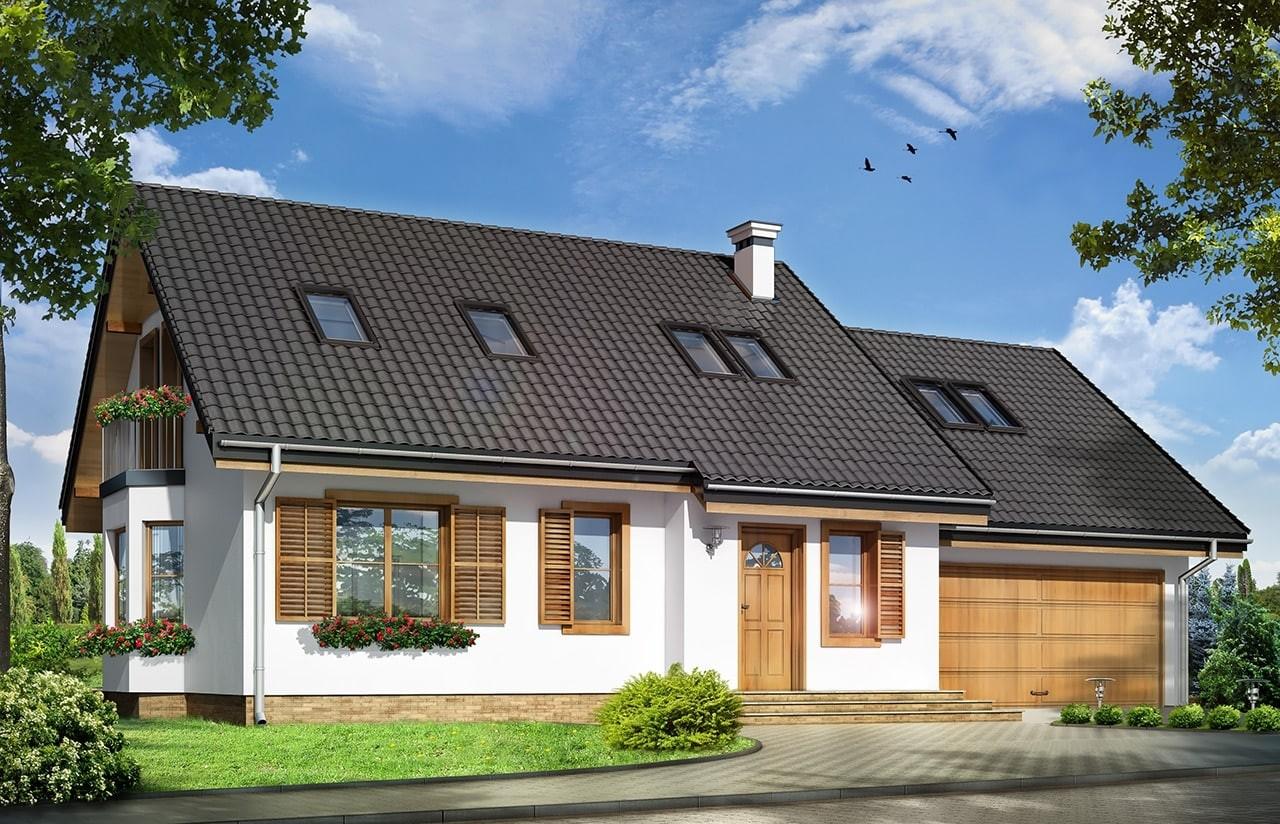 Projekt domu Bryza 2 - wizualizacja frontowa odbicie lustrzane