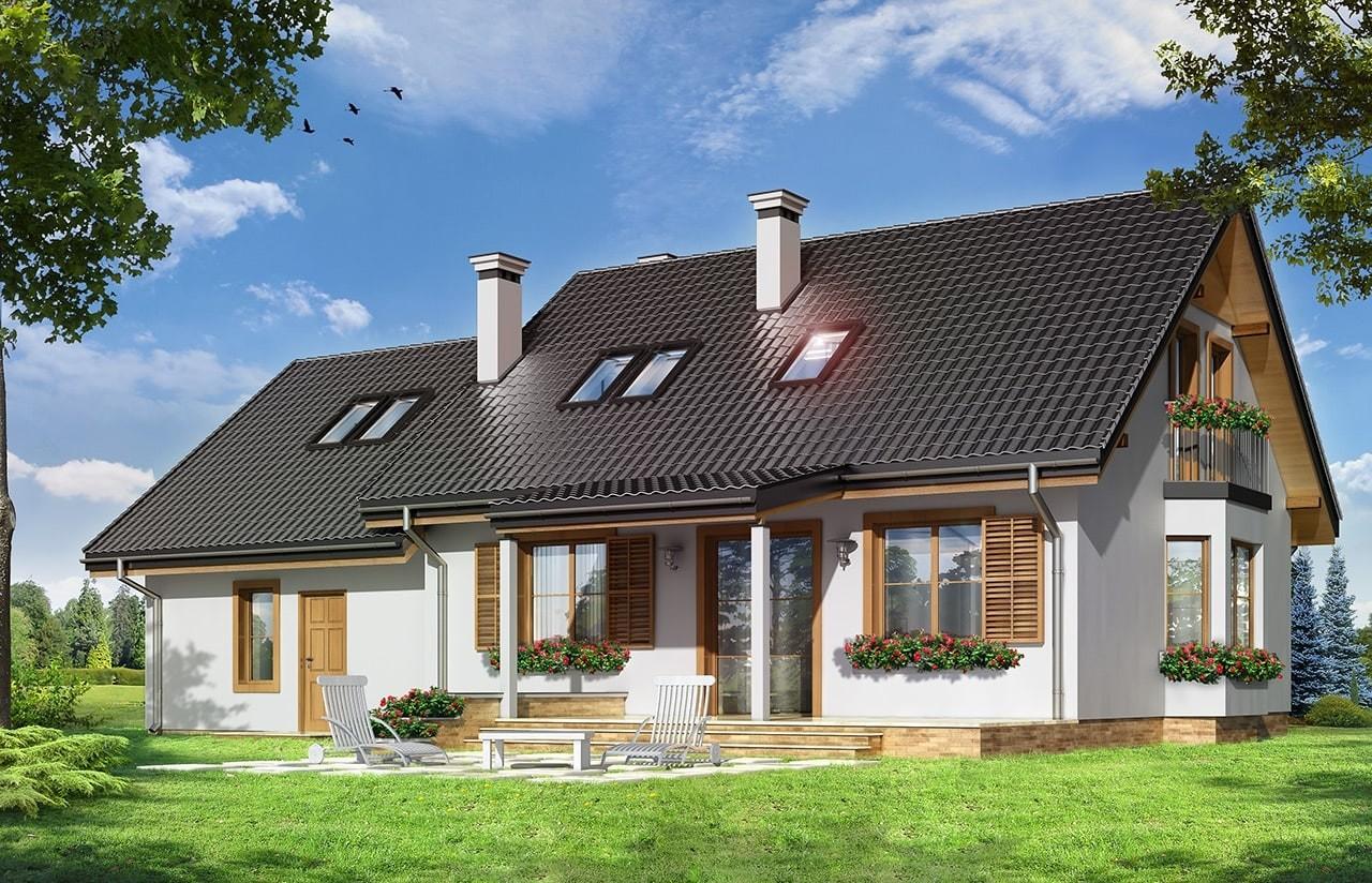 Projekt domu Bryza 2 - wizualizacja tylna odbicie lustrzane