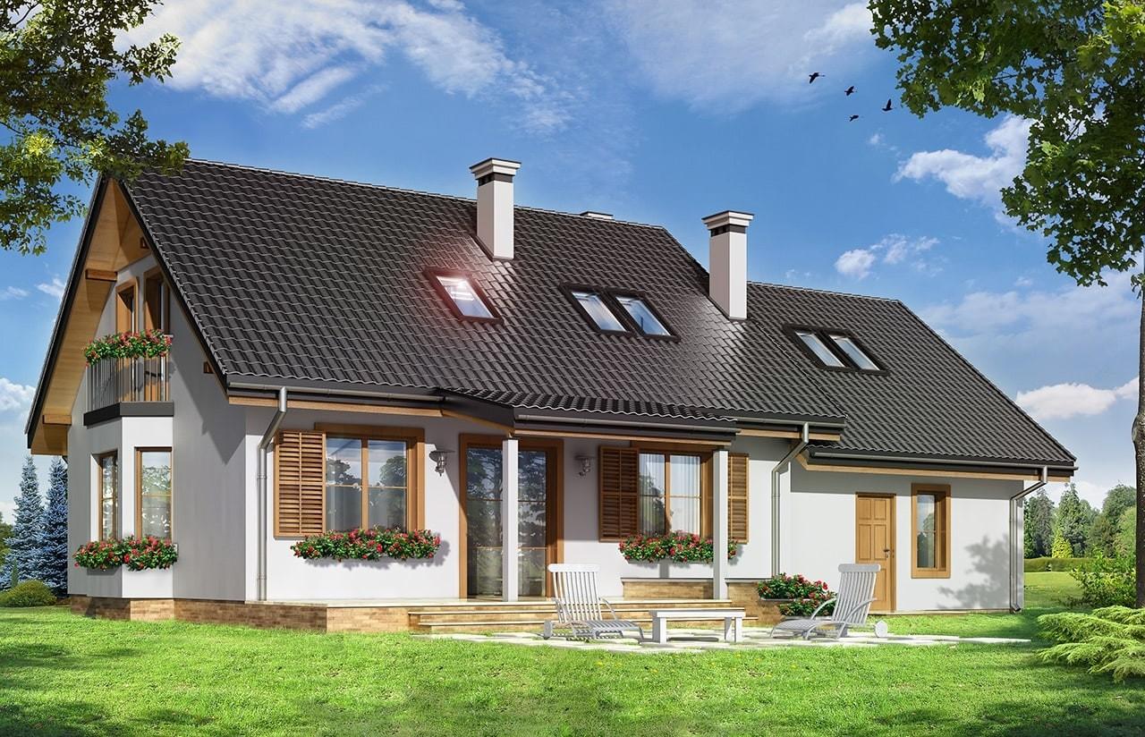 Projekt domu Bryza 2 - wizualizacja tylna
