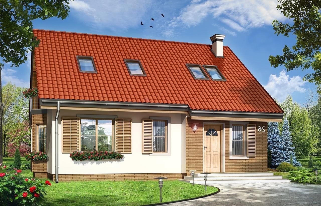Projekt domu Bryza 3 - wizualizacja frontowa odbicie lustrzane