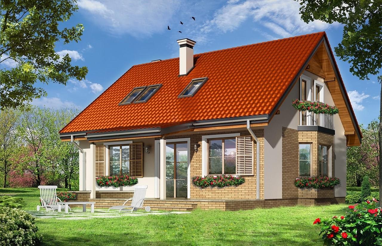 Projekt domu Bryza 3 - wizualizacja tylna odbicie lustrzane