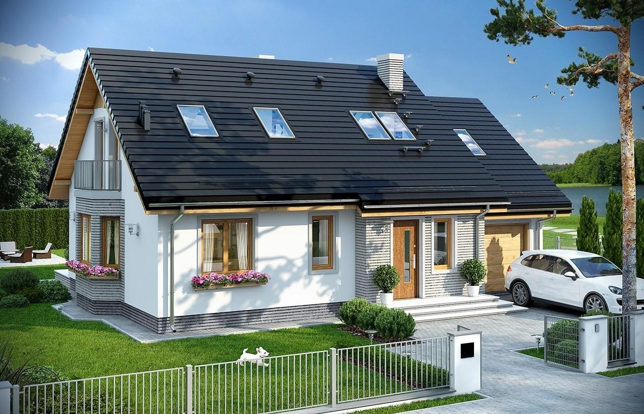Projekt domu Bryza 5 (NF40) - wizualizacja frontowa odbicie lustrzane