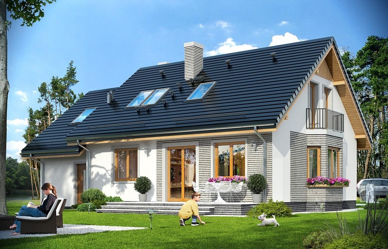 Projekt domu Bryza 5 (NF40) - wizualizacja tylna odbicie lustrzane