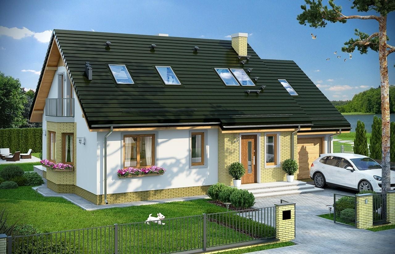 Projekt domu Bryza 6 (MDM) - wizualizacja frontowa odbicie lustrzane