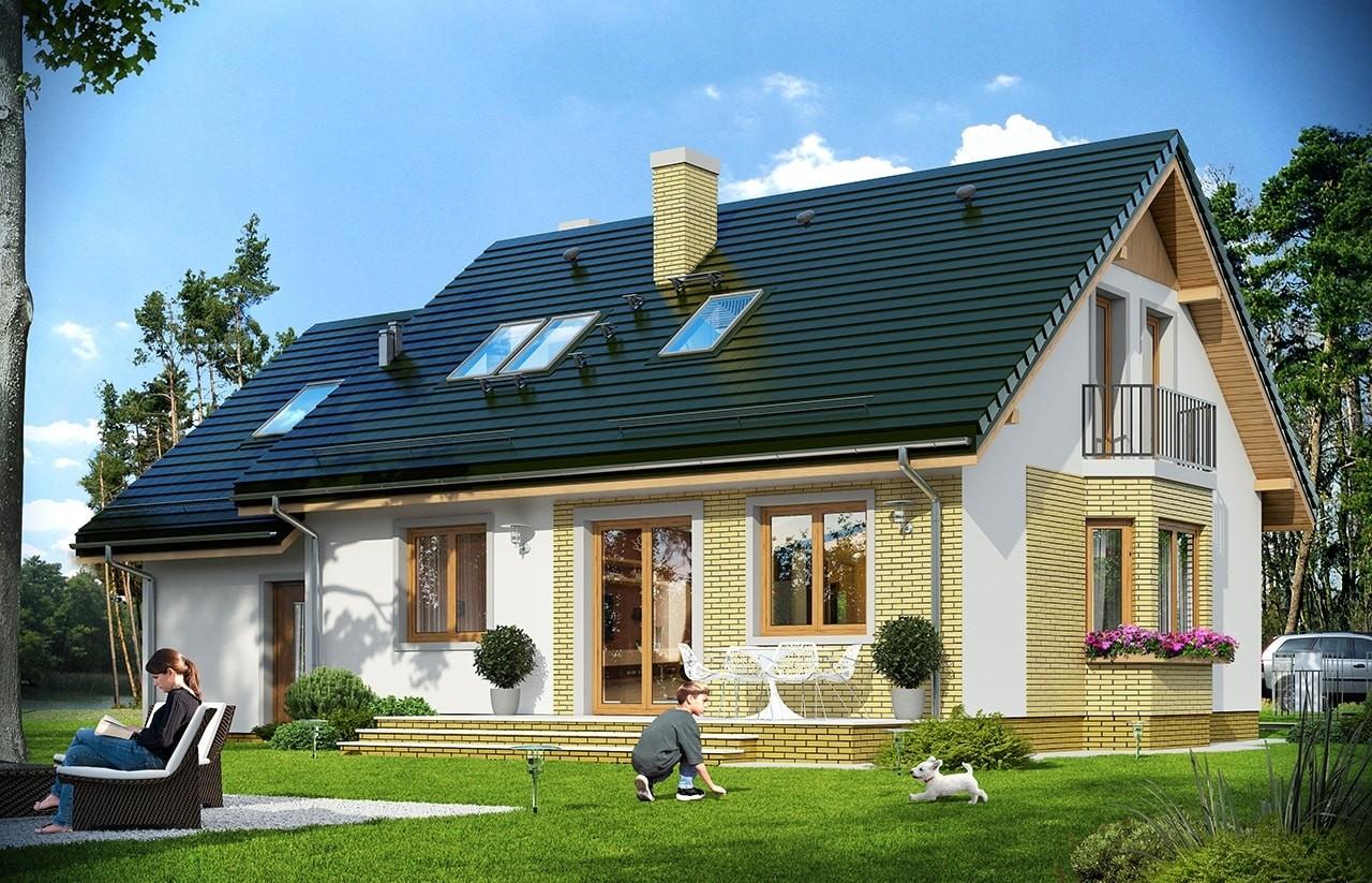 Projekt domu Bryza 6 (MDM) - wizualizacja tylna odbicie lustrzane