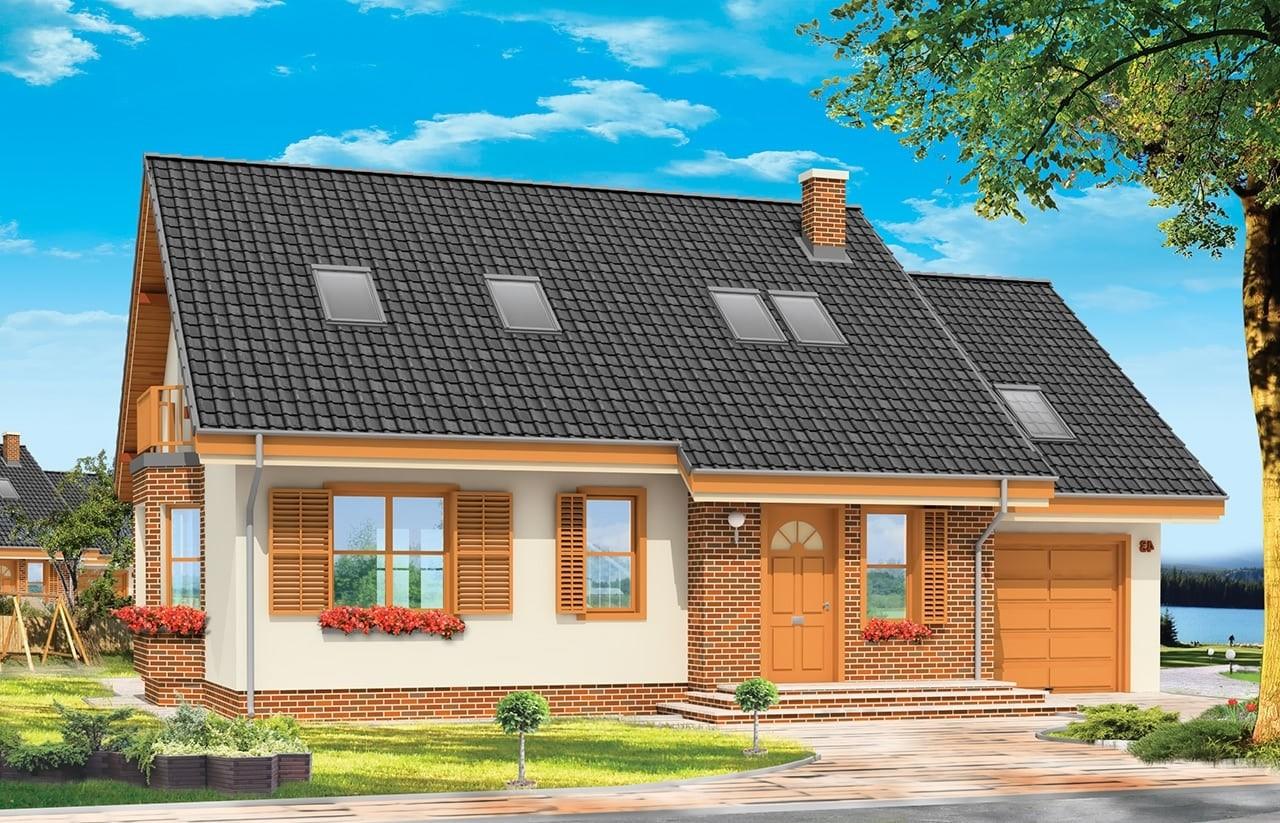 Projekt domu Bryza - wizualizacja frontowa odbicie lustrzane
