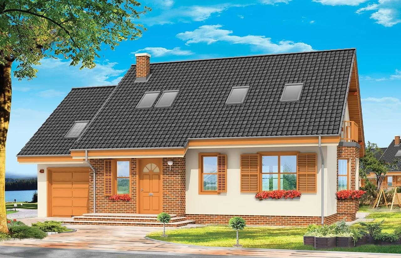 Projekt domu Bryza - wizualizacja frontowa