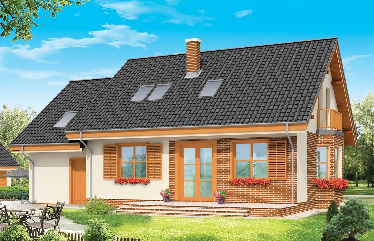 Projekt domu Bryza - wizualizacja tylna odbicie lustrzane