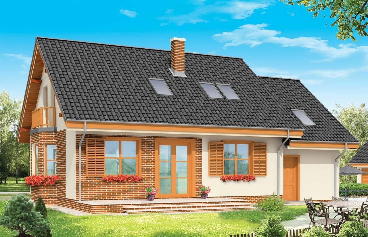 Projekt domu Bryza - wizualizacja tylna