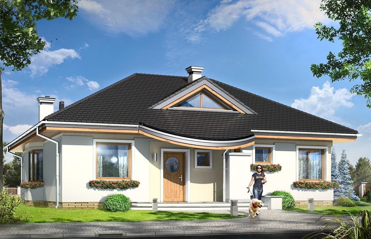 Projekt domu Bukszpan - wizualizacja frontowa odbicie lustrzane