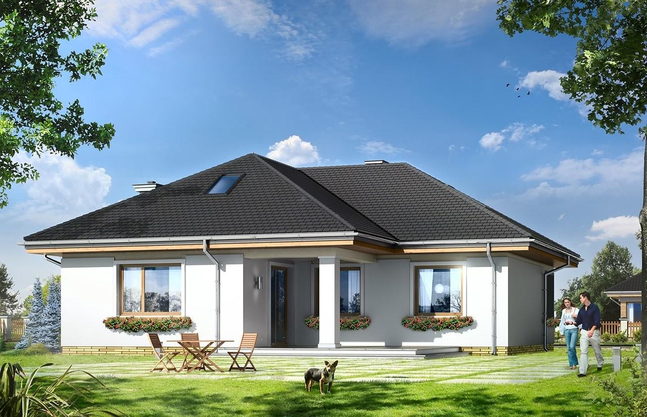 Projekt domu Bukszpan - wizualizacja tylna
