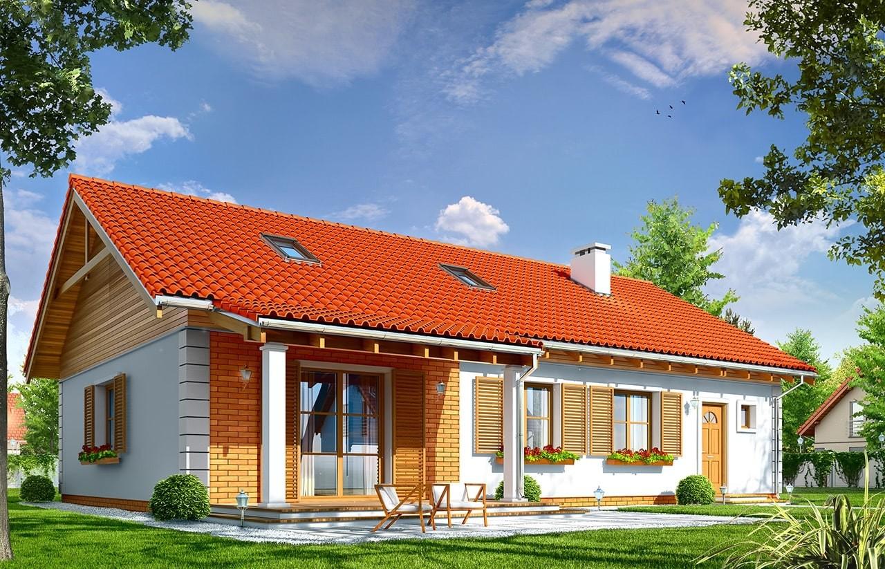 Projekt domu Bursztyn 2 - wizualizacja tylna odbicie lustrzane