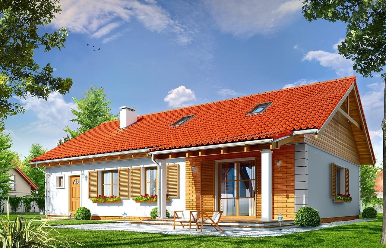 Projekt domu Bursztyn 2 - wizualizacja tylna