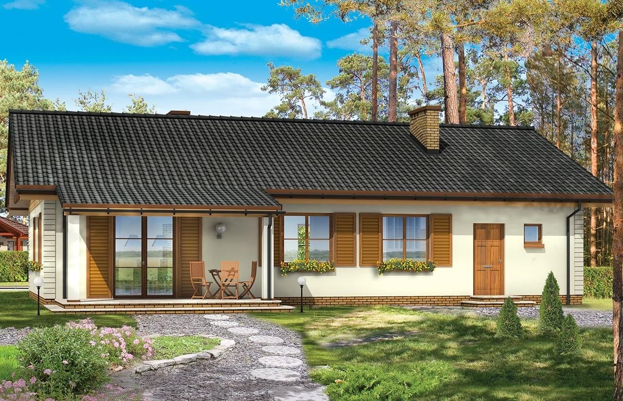 Projekt domu Bursztyn - wizualizacja tylna