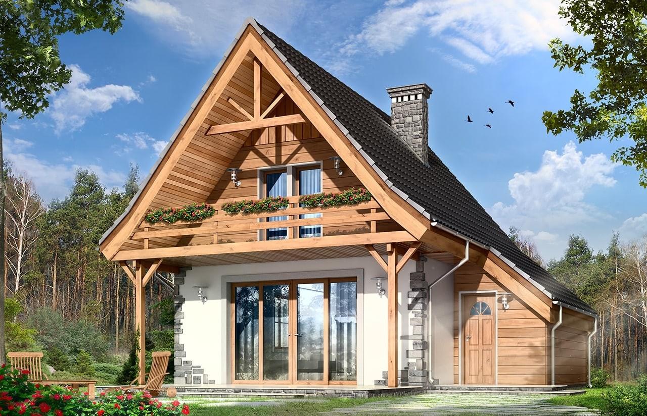 Projekt domu Chatka 2 - wizualizacja frontowa odbicie lustrzane