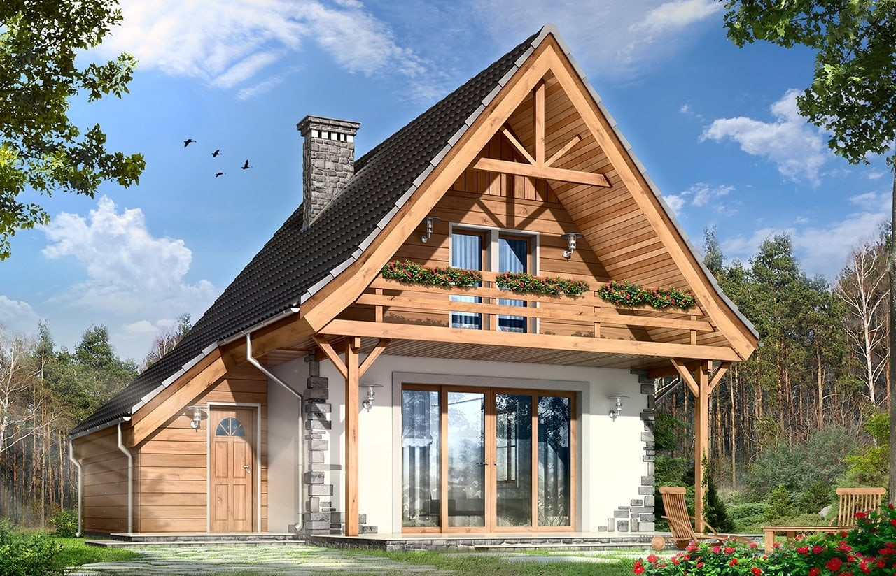 Projekt domu Chatka 2 - wizualizacja frontowa