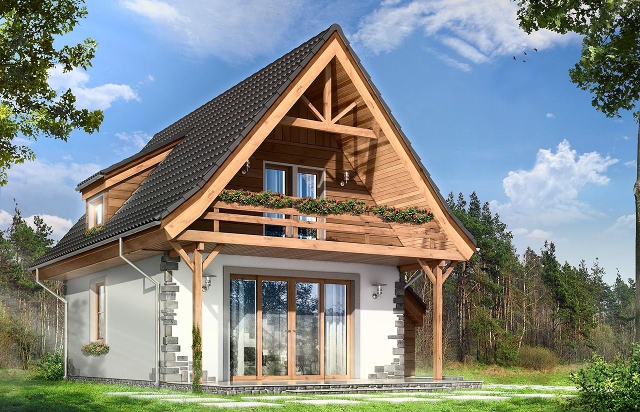 Projekt domu Chatka 2 - wizualizacja tylna odbicie lustrzane