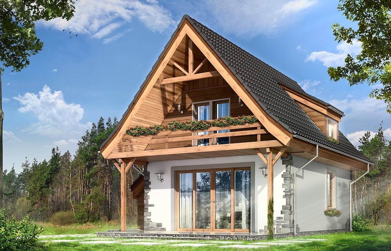 Projekt domu Chatka 2 - wizualizacja tylna