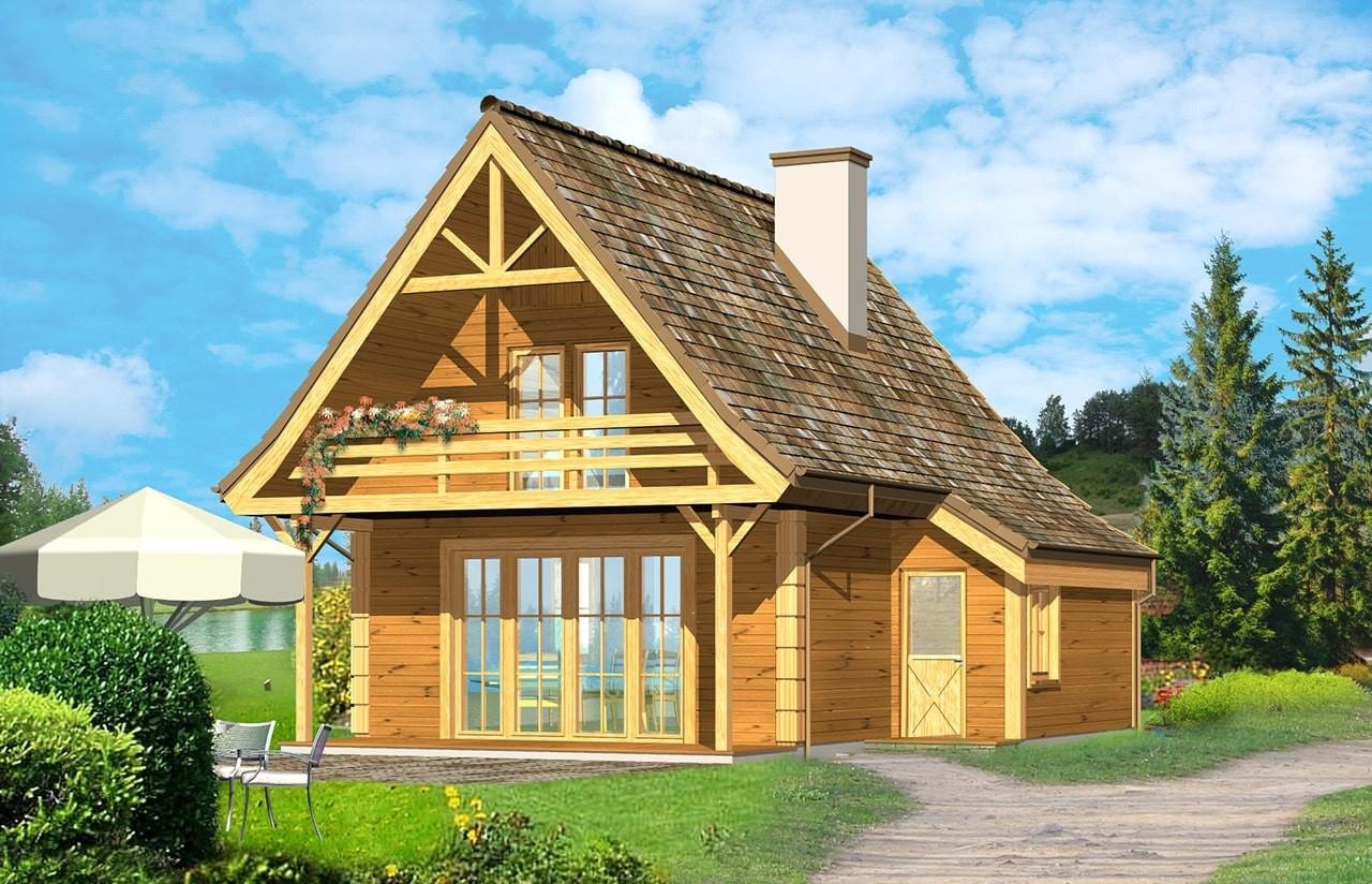 Projekt domu Chatka drewniana - wizualizacja frontowa odbicie lustrzane