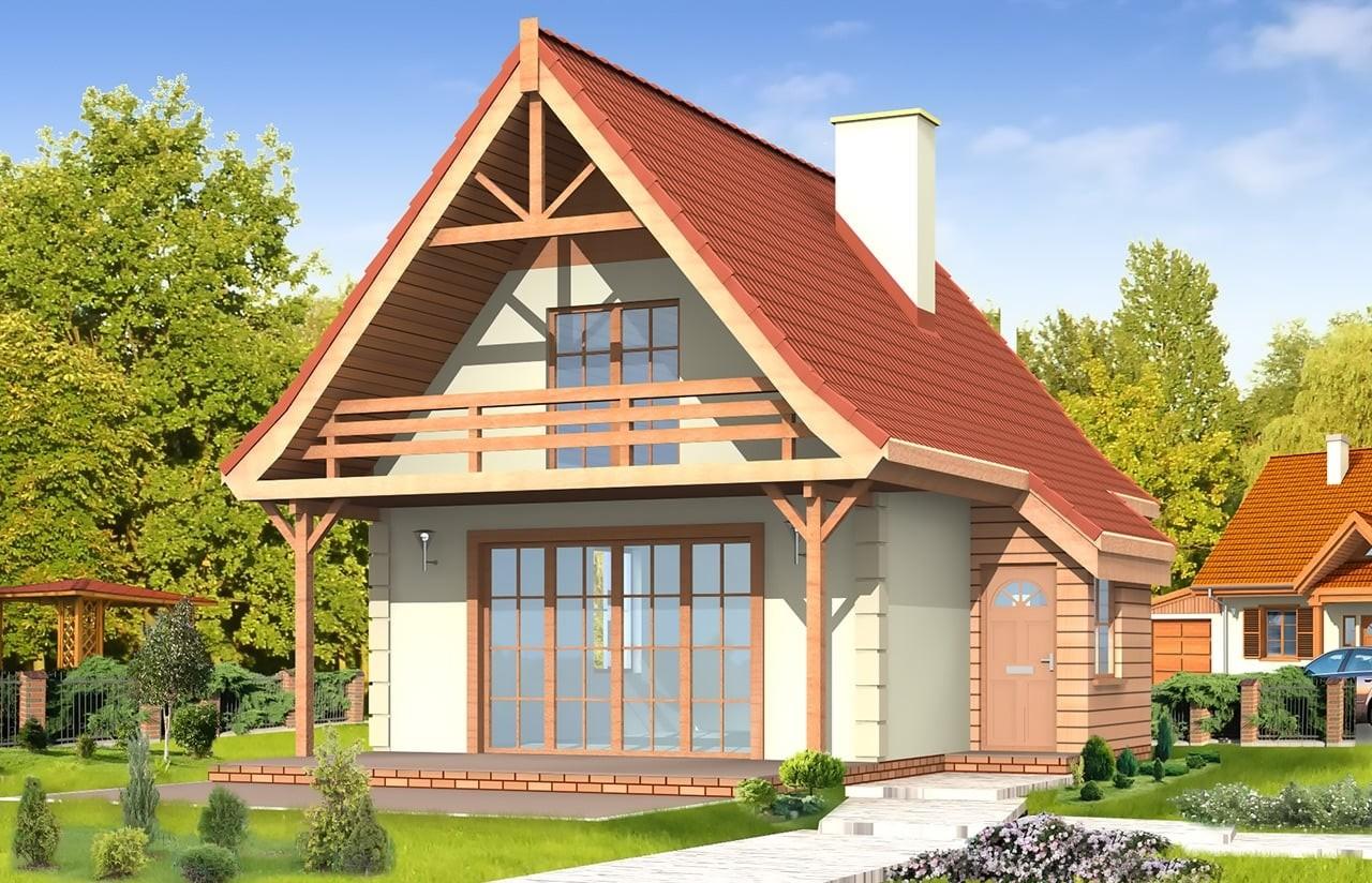Projekt domu Chatka - wizualizacja frontowa odbicie lustrzane