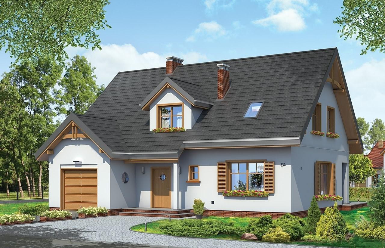 Projekt domu Cukiereczek - wizualizacja frontowa odbicie lustrzane