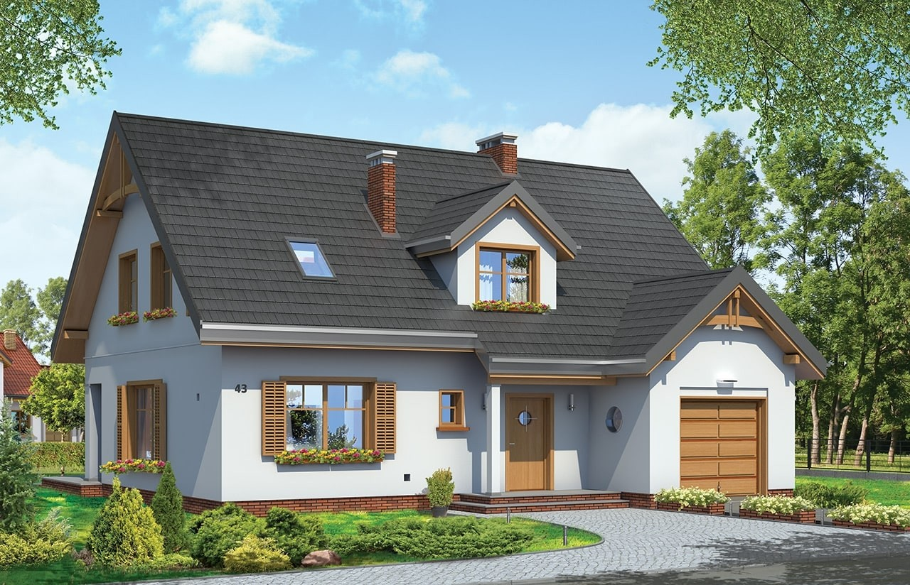 Projekt domu Cukiereczek - wizualizacja frontowa