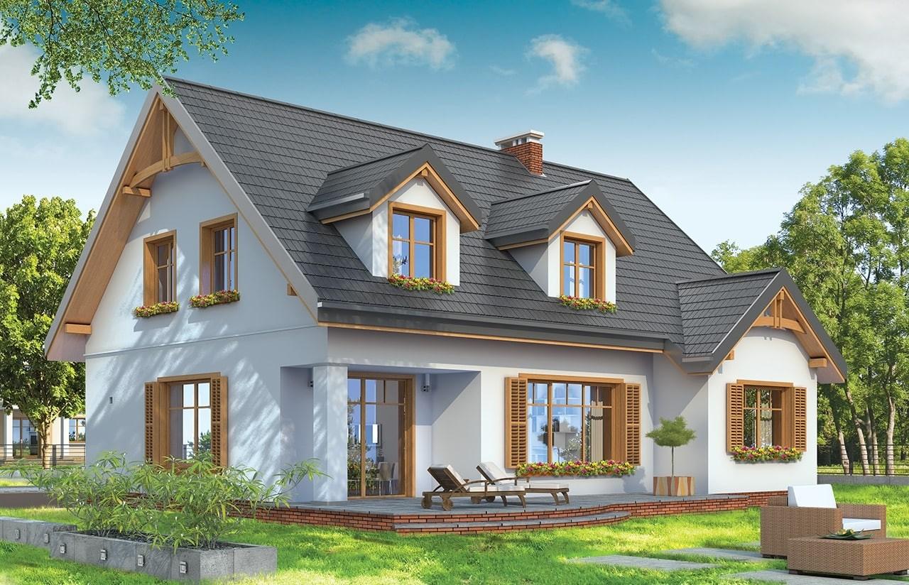 Projekt domu Cukiereczek - wizualizacja tylna odbicie lustrzane