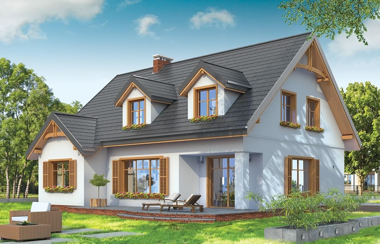 Projekt domu Cukiereczek - wizualizacja tylna
