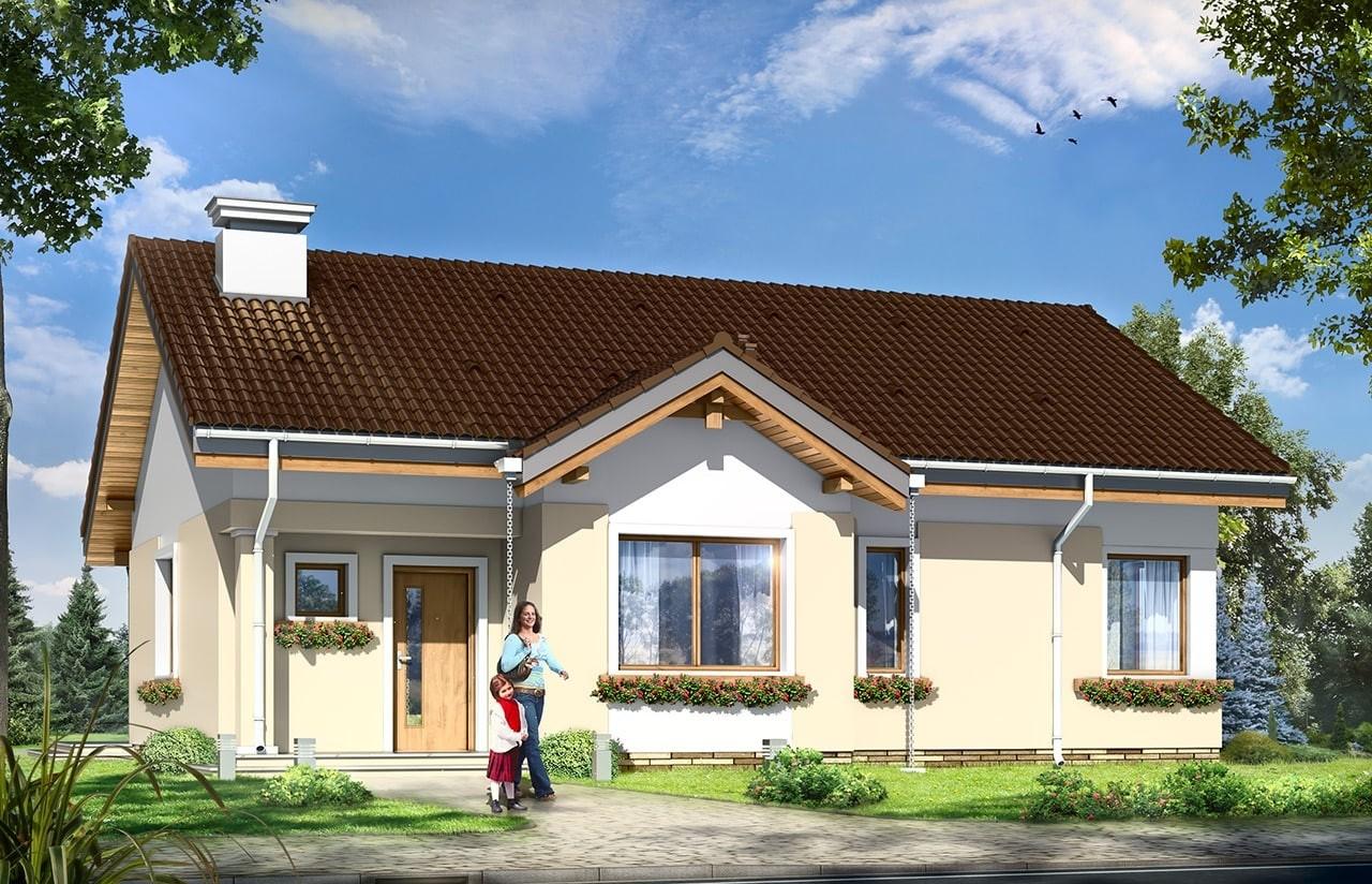 Projekt domu Cypisek 2  - wizualizacja frontowa odbicie lustrzane