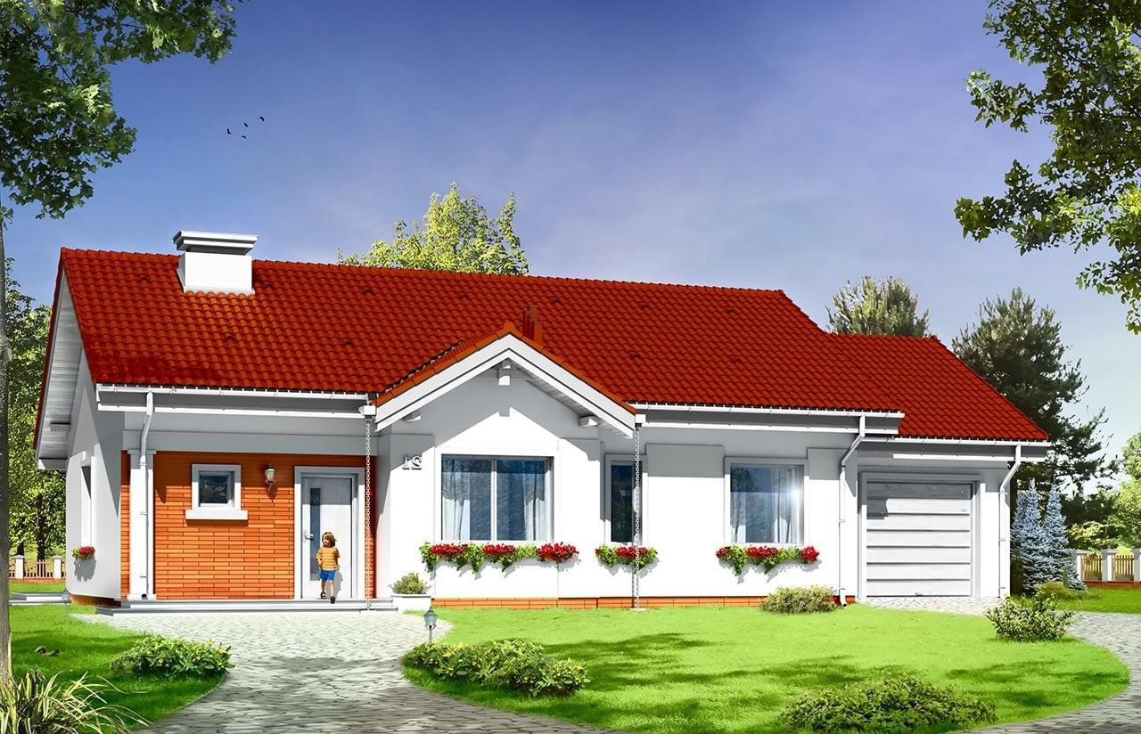 Projekt domu Cypisek 4 - wizualizacja frontowa odbicie lustrzane