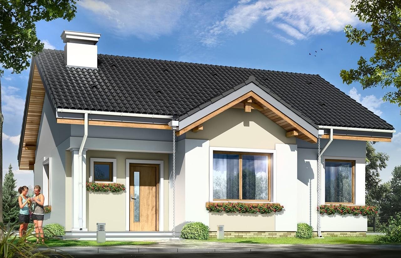 Projekt domu Cypisek - wizualizacja frontowa odbicie lustrzane
