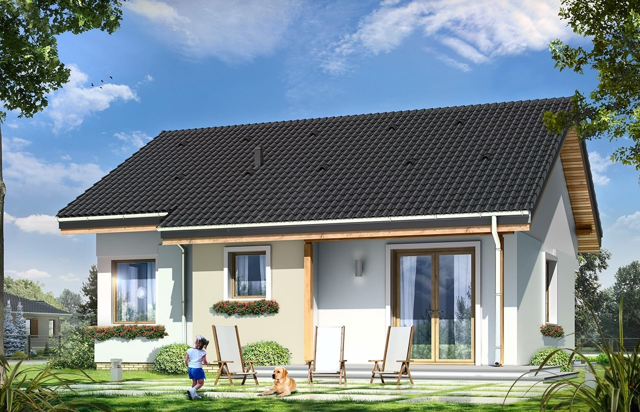 Projekt domu Cypisek - wizualizacja tylna odbicie lustrzane