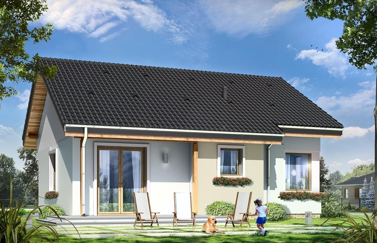Projekt domu Cypisek - wizualizacja tylna