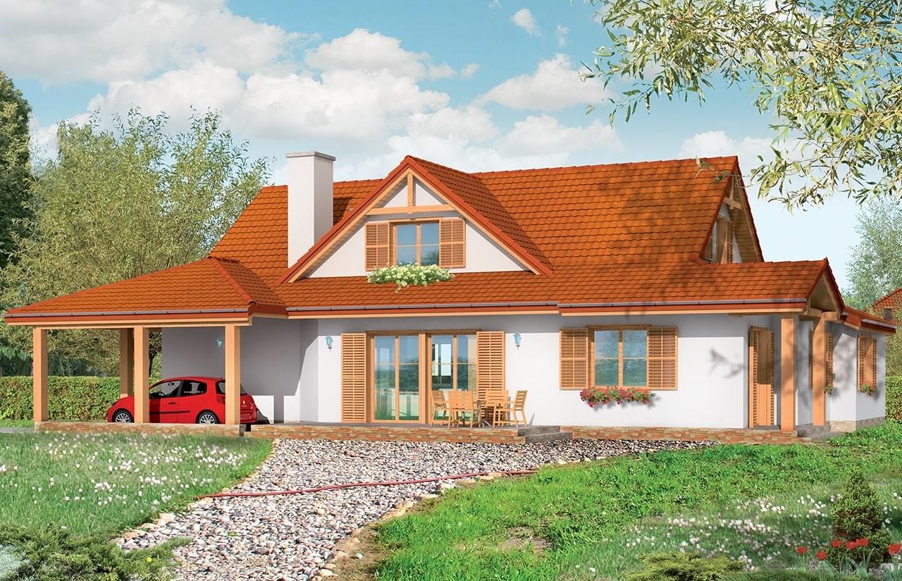 Projekt domu Czapla - wizualizacja tylna