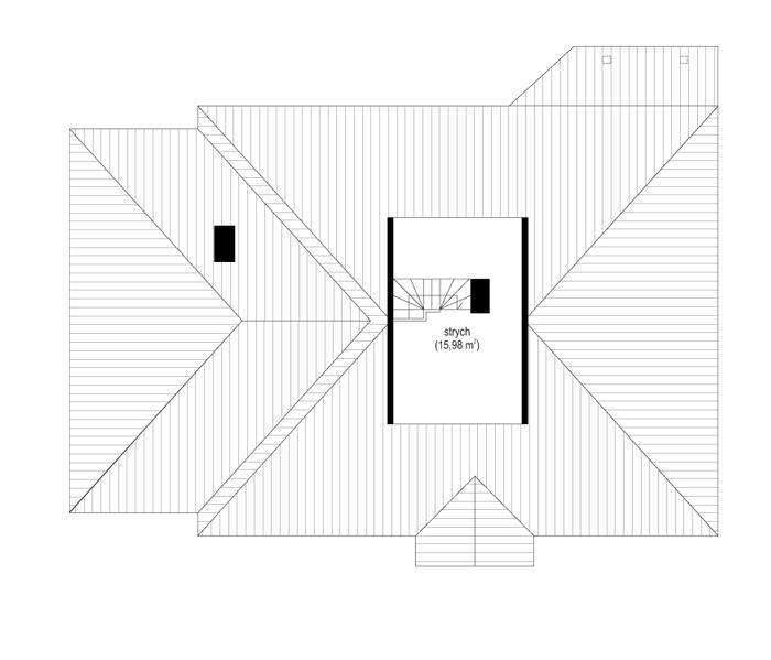 Cztery kąty 2 - rzut poddasza odbicie lustrzane