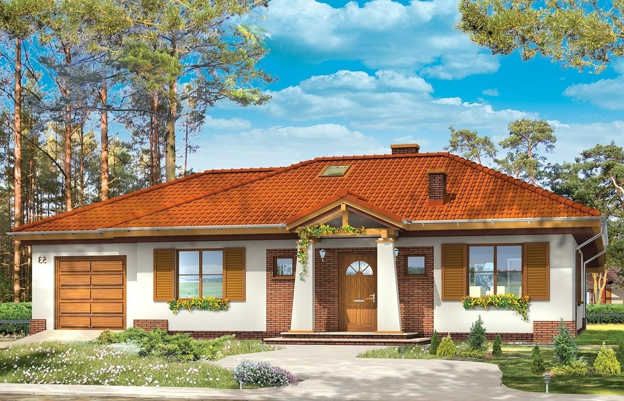 Projekt domu Cztery kąty 2 - wizualizacja frontowa odbicie lustrzane