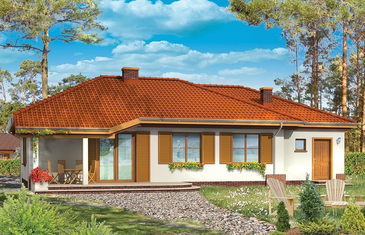 Projekt domu Cztery kąty 2 - wizualizacja tylna odbicie lustrzane