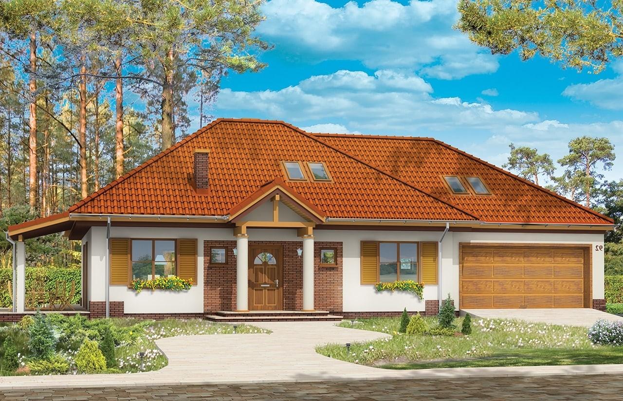 Projekt domu Cztery kąty 3 - wizualizacja frontowa odbicie lustrzane